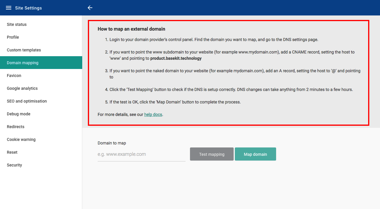 Mapping a domain name to your site (v10) - Site Settings (v10 ... on